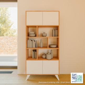 Книжный-шкаф-Smart-Wood-Дуб-и-белое-дерево-SM2485-001
