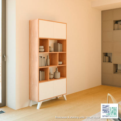 Книжный-шкаф-Smart-Wood-Дуб-и-белое-дерево-SM2485-003